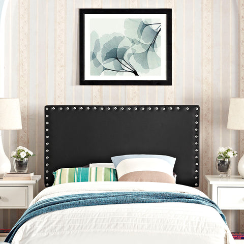 Phoebe Twin Upholstered Vinyl Headboard in Black - Mid Mod Finds