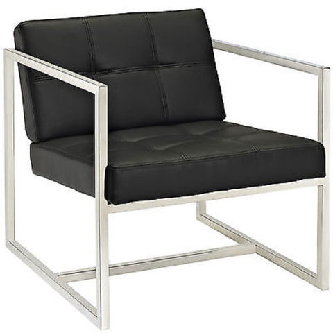Hover Modern Steel Frame Lounge Chair in Black
