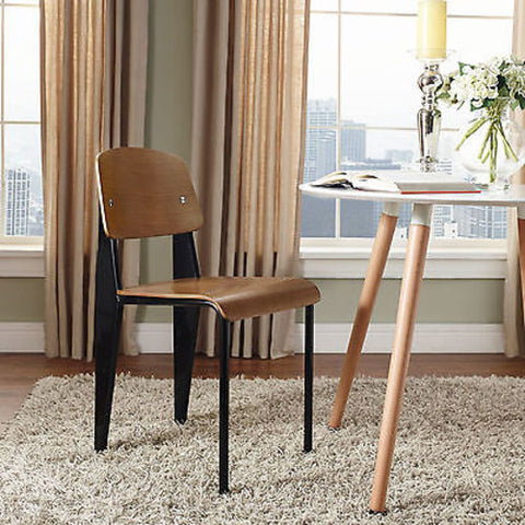 Jean Prouve Style Standard Dining Side Chair in Walnut Black
