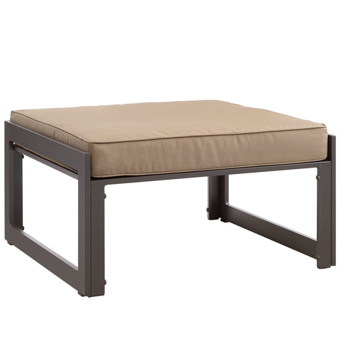 Fortuna Outdoor Patio Ottoman in Brown Mocha
