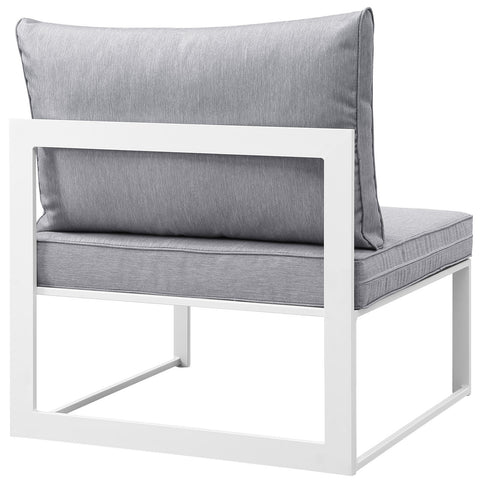 Fortuna Armless Outdoor Patio Sofa in White Gray