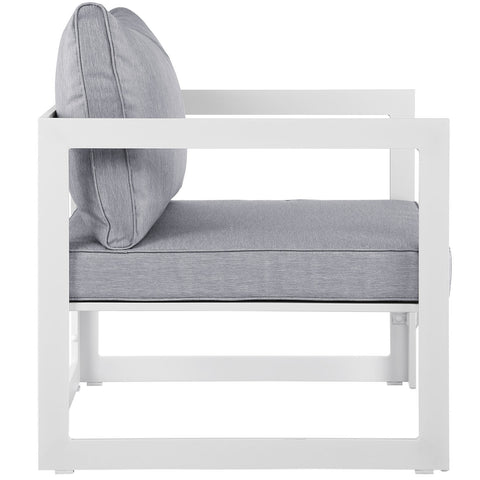 Fortuna Outdoor Patio Armchair in White Gray