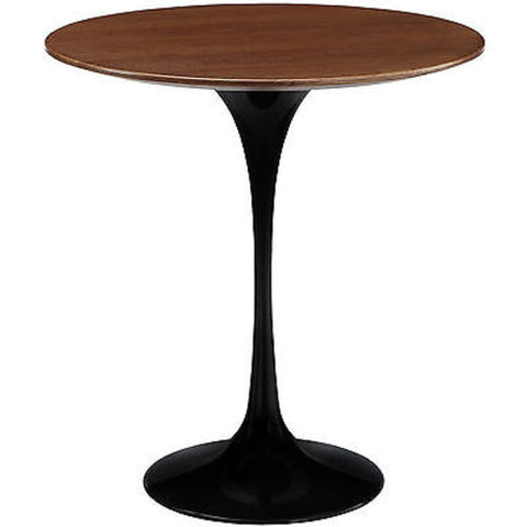 "20"" Eero Saarinen Style Tulip Table with Walnut Top in Black"