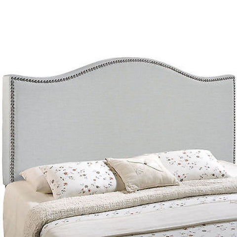 Curl King Nailhead Upholstered Headboard in Gray