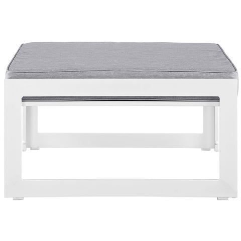 Fortuna Outdoor Patio Ottoman in White Gray