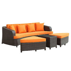Monterey Outdoor Patio Sofa Set in Brown Orange