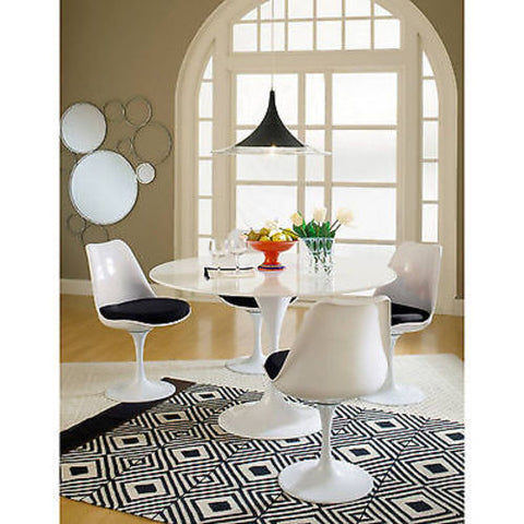 Saarinen Tulip Style Side Chair with Black Cushion