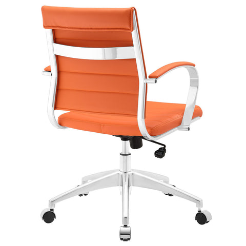 Adjustable Modern Chromed Mid Back Office Chair in Orange - Mid Mod Finds