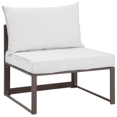 Fortuna Armless Outdoor Patio Sofa in Brown White