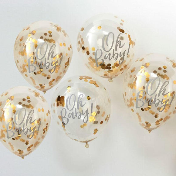 Oh Baby Gold Confetti Balloons