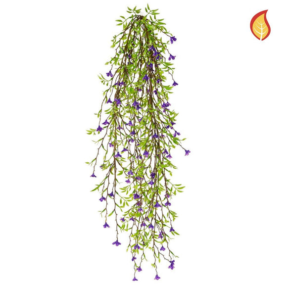 I & T Base Green Leaf Purple Flower 64cm - Fire Rated