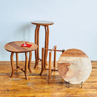 Wood Side Table Lipped Top w/ Curved Legs