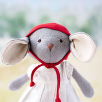 Catalina Mouse in White Linen Dress & Red Bonnet - Hazel Village