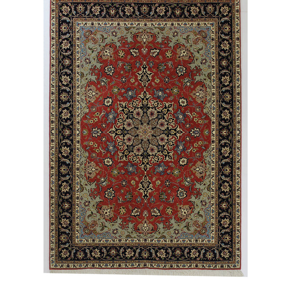 Persian Tabriz Hand-Knotted Medallion Rug