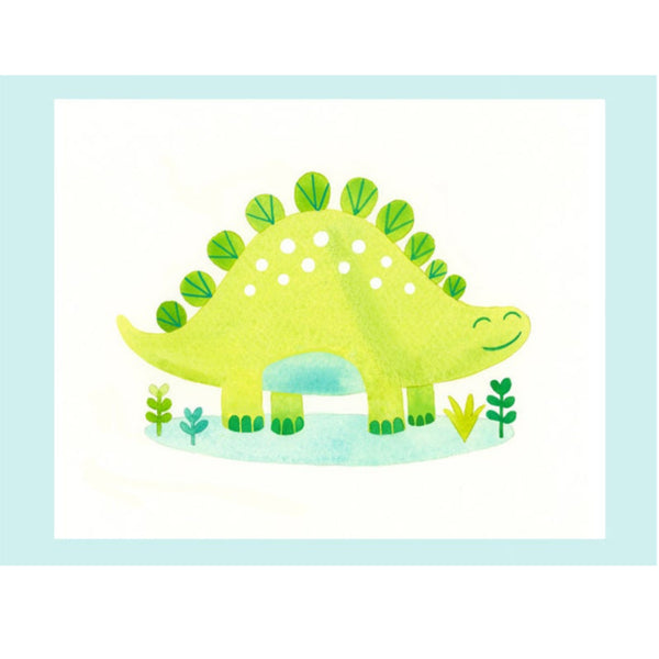 Bright Green Dinosaur Print