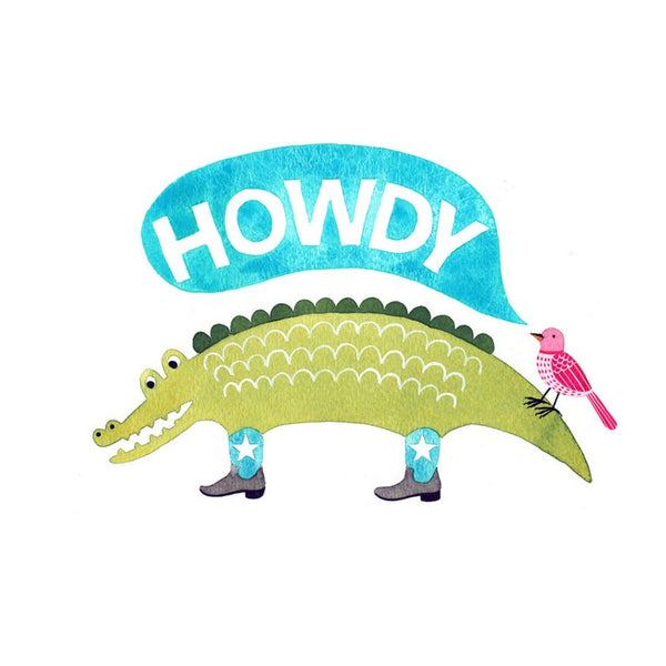 Howdy Alligator Art Print