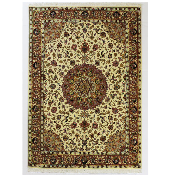 Persian Tabriz Hand-Knotted Floral Rug