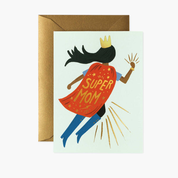 Super Mom Blue Mother's Day Card