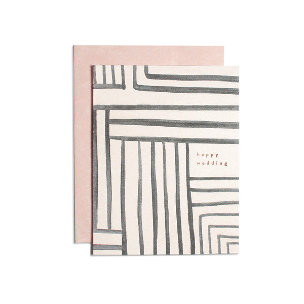 Happy Wedding Stripe Card