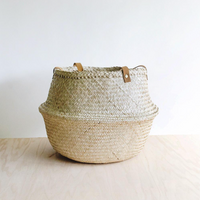 Leather Handle Collapsible Basket
