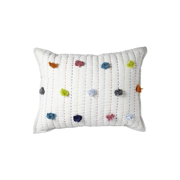 Rainbow Pom Pom Pillow