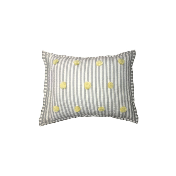 Pom Pom Pillow - Yellow/Grey