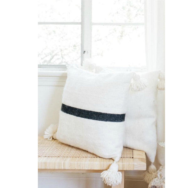 Wool Pom pom Pillow / Stripe