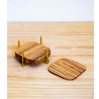 PURE BRASS & TEAK COASTER SET