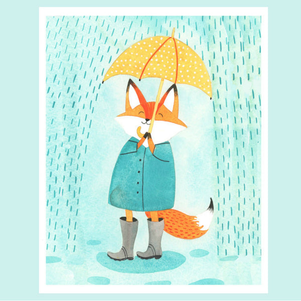 Fox and Umbrella Print