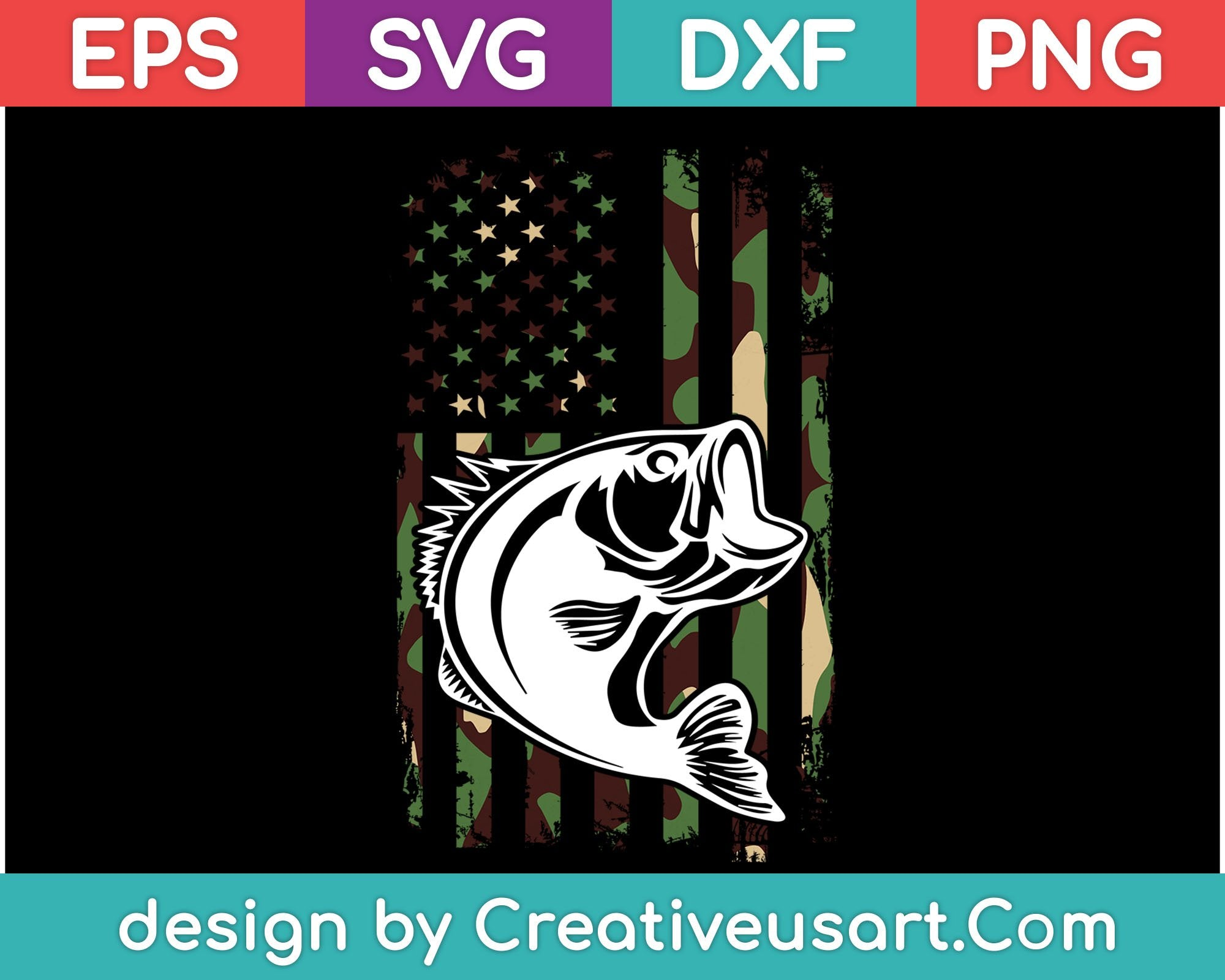 Download Camouflage American Flag Bass Fishing Svg Files Creativeusarts