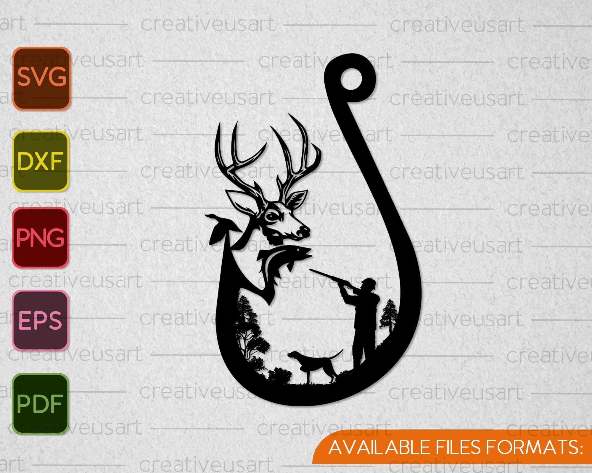 Download Deer And Hook Svg File Hunting And Fishing Svg File Hunting Fishing Duck Vector Clip Art Cricut Silhouette Cameo Vinyl Cut Visual Arts Craft Supplies Tools Kromasol Com
