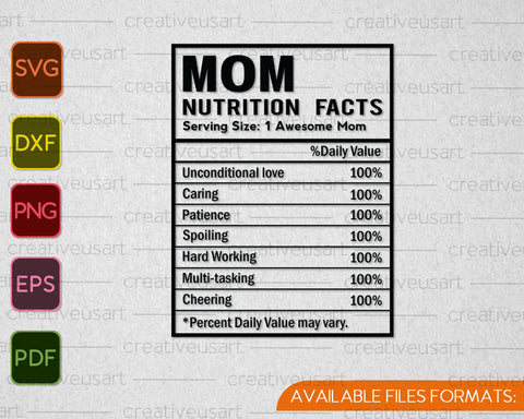 MOM Nutrition Facts, Nutrition Facts Template SVG PNG Cutting Printable Files