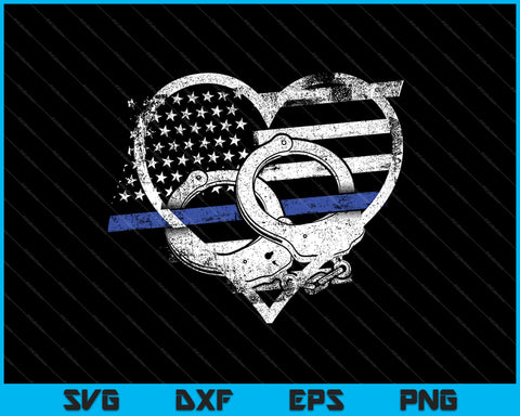 Police Officer Support Thin Blue Line Flag Heart SVG PNG Cutting Printable Files