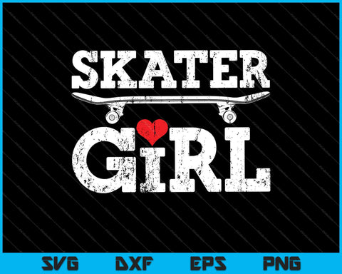 Skater Girl Skateboard Skateboarding SVG PNG Cutting Printable Files