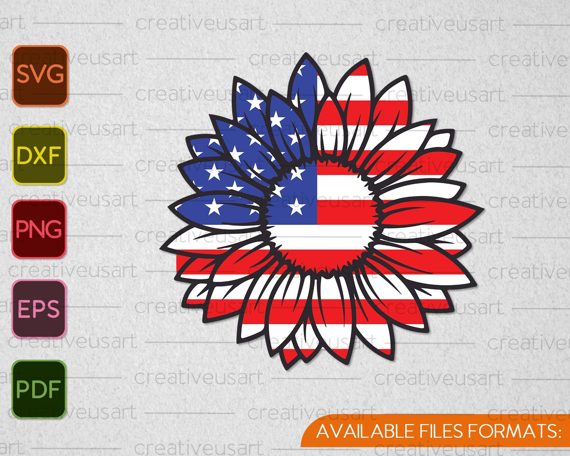 Download American Flag Sunflower Memorial Day Svg Png Files Creativeusarts