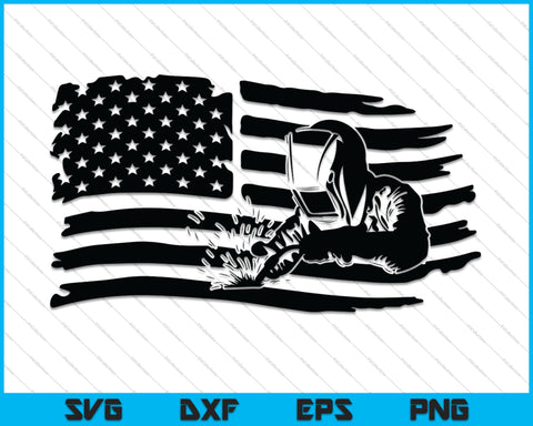 Welder American Flag SVG PNG Cutting Printable Files