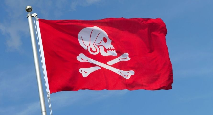 Rote Piratenflagge