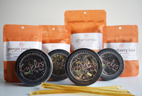 loose leaf tea, honey sticks, and tea bags from Black-owned brands