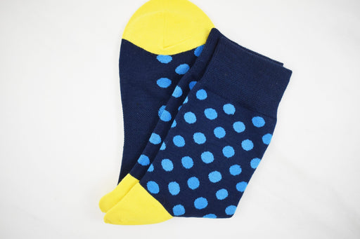Blue and Yellow Polka Dot Socks - Bold Xchange black owned brand black owned gifts