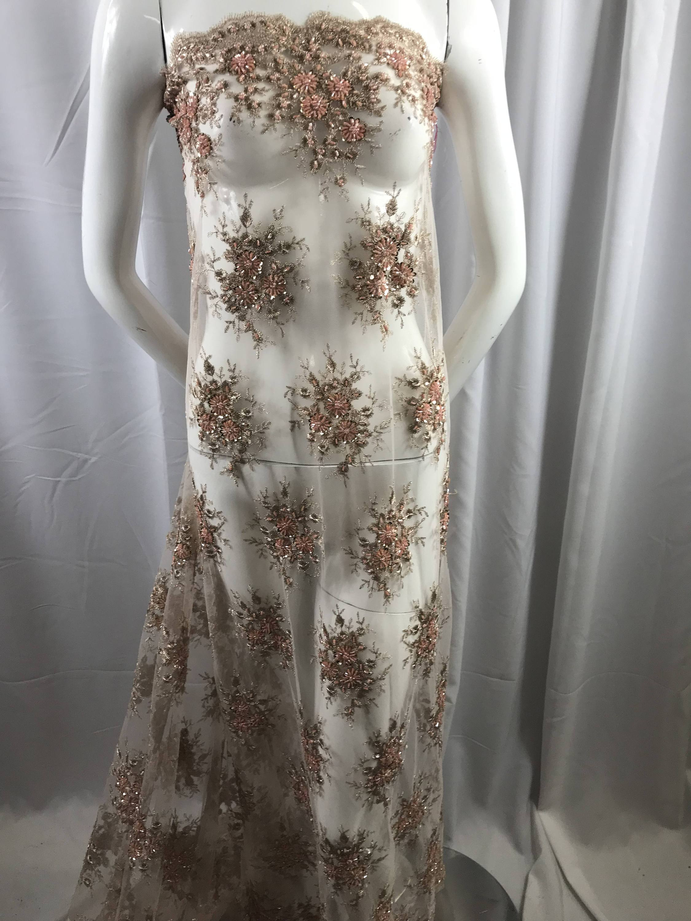 Graysilver gaviota design embroider and beaded on a mesh lace WeddingBridalPromNightgown fabric Sold by the yard.