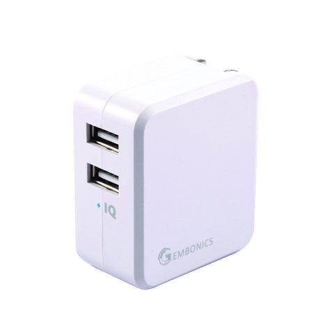 Gembonics 20W Dual Port USB Wall Charger with foldable plug Travel Power Adapter (Auto Detect Technology) for all USB charged devices.