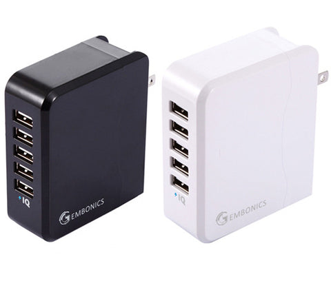 Multi USB Charger By Gembonics 36W (7.2 Amps, Auto Detect Technology) 5-Port USB Wall Charger Travel Power Adapter (White & Black)