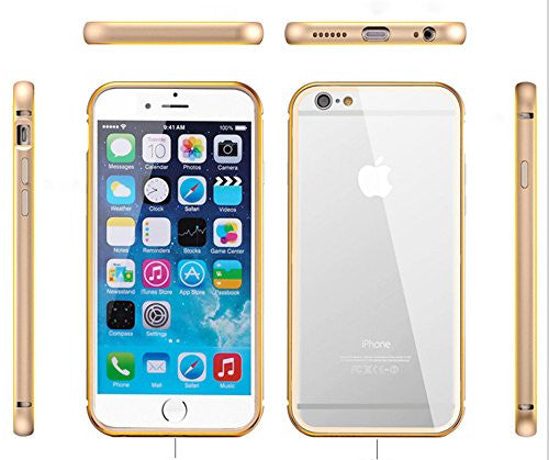 iPhone 6 Case, Gembonics Aluminum Metal Frame iPhone 6 Clear Case - Gold