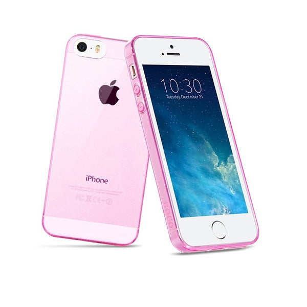 iPhone 5/5S Protective Case, Gembonics Slim Flexible TPU Case for iPhone 5 / 5S, Full Back and Side Shockproof - Pink