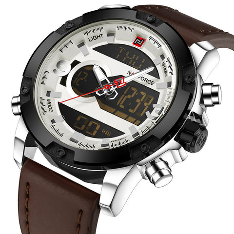 NAVIFORCE Luxury Analog + Digital Leather Sports Quartz Watches