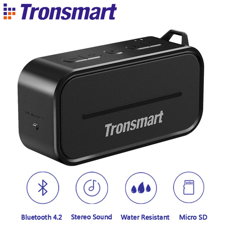Tronsmart T2 Bluetooth 4.2 Outdoor Water Resistant Speaker  Black