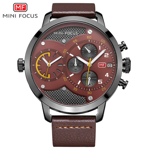 MINI FOCUS Dual Time Luxury Quartz Wrist Watch
