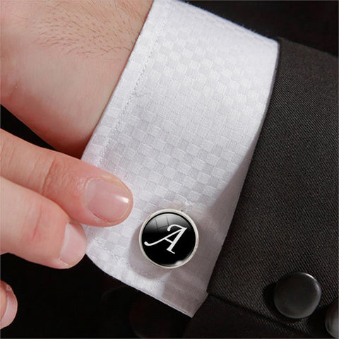 1 Pair White on Black Men Cuff Links