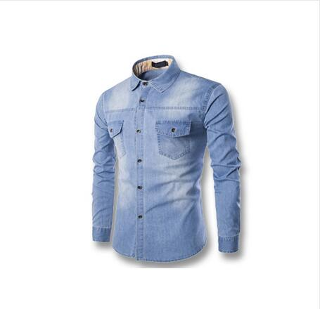 Long Sleeve Denim Shirt Men