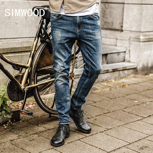 SIMWOOD Casual Cotton Straight Denim Pencil Pants